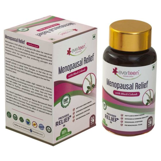 everteen Menopausal Relief Natural Capsules With Black Cohosh for Hot Flashes in Women – 1 Pack (90 Capsules)