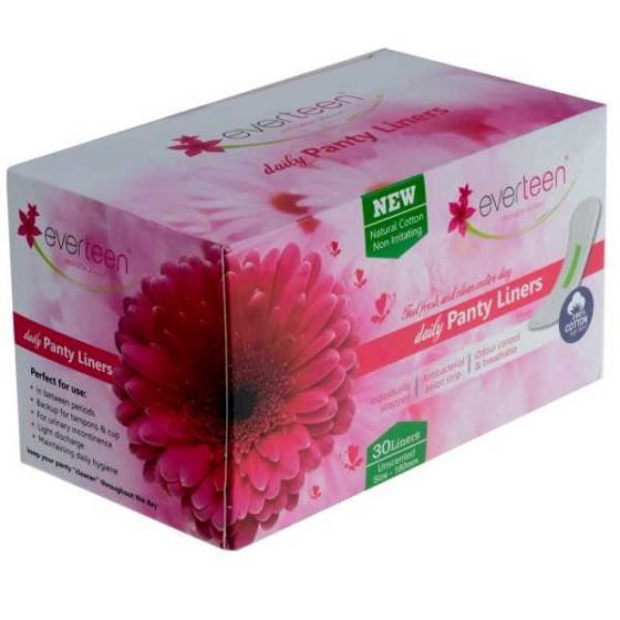 everteen 100% Natural Cotton-Top Daily Panty Liners for Women - 1 Pack (30pcs)