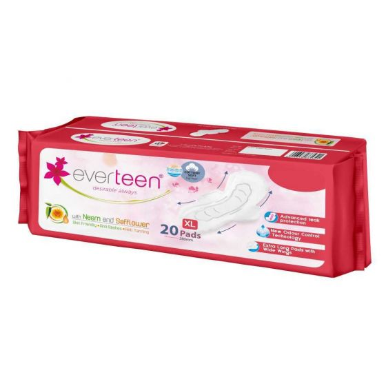 everteen XL Sanitary Napkin Pads with Neem and Safflower, Cottony-Soft Top Layer for Women – 1 Pack (20 Pads, 280mm)