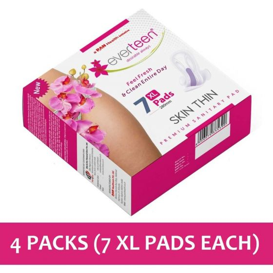 everteen SKIN THIN Premium XL Sanitary Pads for Protection During Periods in Women - 4 Packs (7 Pieces Each, 280mm)